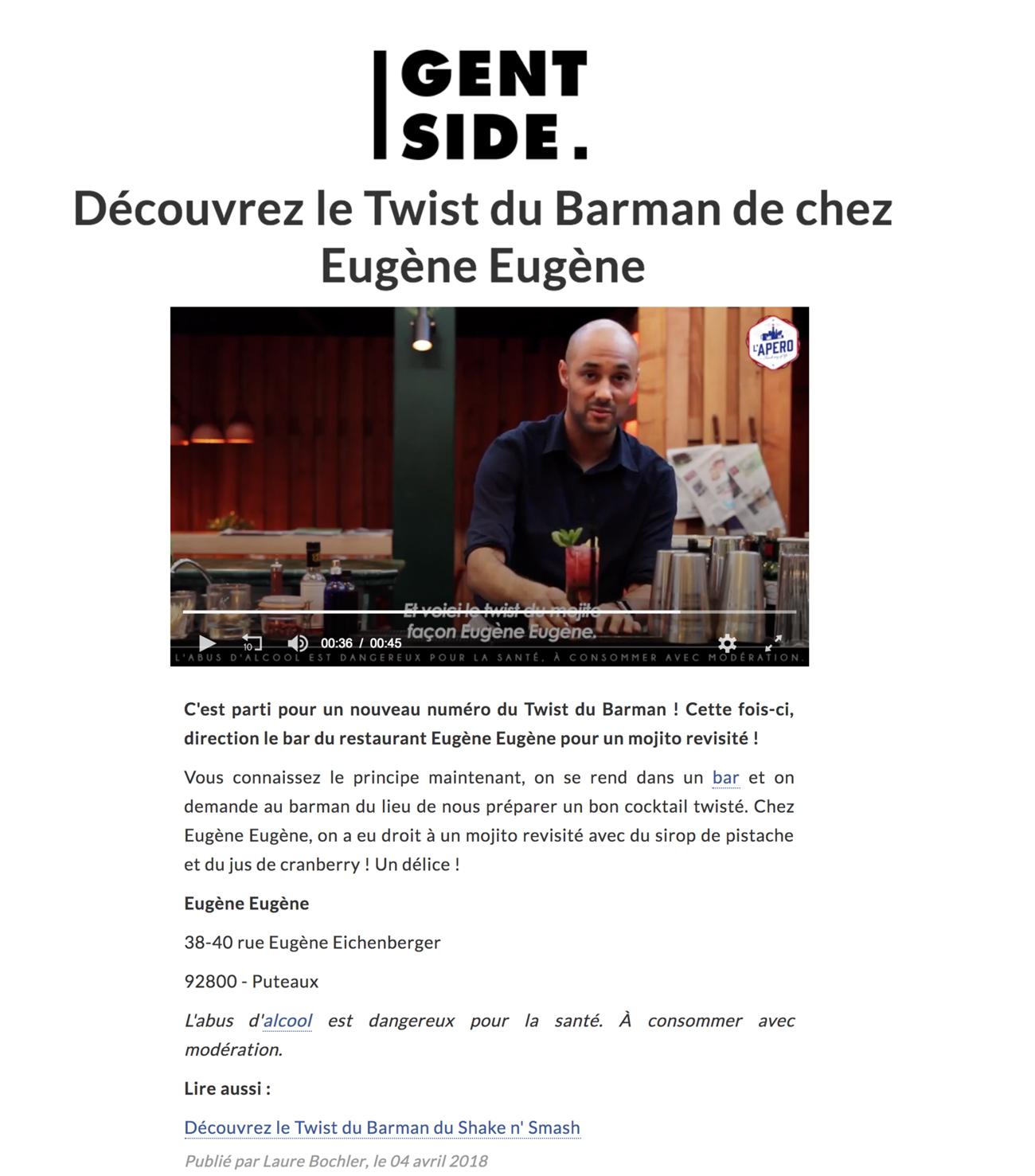 Découvrez le Twist du Barman de chez Eugène Eugène